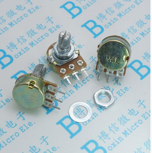 2Pcs 3Pin WH148 Type B1K Ohm Linear Taper Rotary Potentiometer Panel Pot