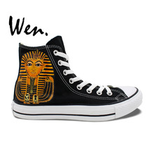 Wen Hand Painted Shoes Design Custom Egyptian Pharaoh Queen High Top Canvas Sneakers Presents for Men Women