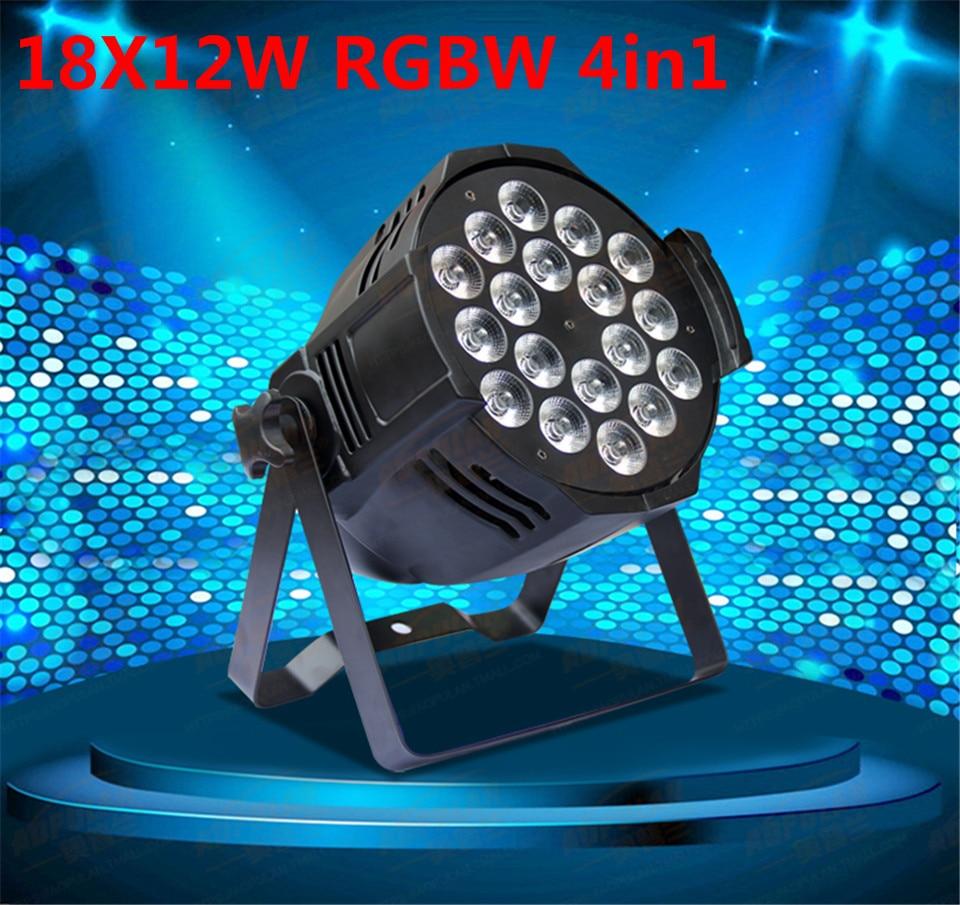 LED par 18x12W RGBW 4in1 Quad LED Par PuO Par64 ha condotto il riflettore proiettore dj wash illuminazione della fase luce dmx