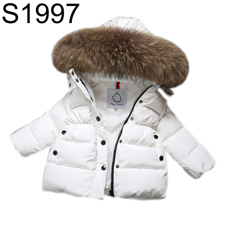 Boys Girls Winter Down Jackets 2017 Winter Children Lagre Fur Collar Hooded Down Coat Kids Solid Thick Warm Clothes Fashion Coat 2016 new winter baby boys girls hooded down coat kids solid thick warm jackets children clothes outwear 1 4 years old
