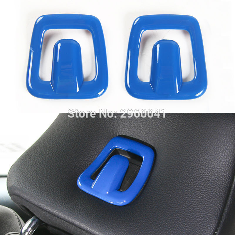 Pair Car Inner Accessories Blue Seats Pillow Pad Hook Frame Trim Cover Stickers Frame For Ford Mustang 2015 2016 2017