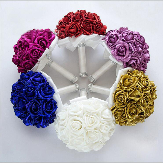 Free Shipping Bright Powder Foam Flowers Luxury Wedding Bridal Bouquets Red Gold Royal Bule