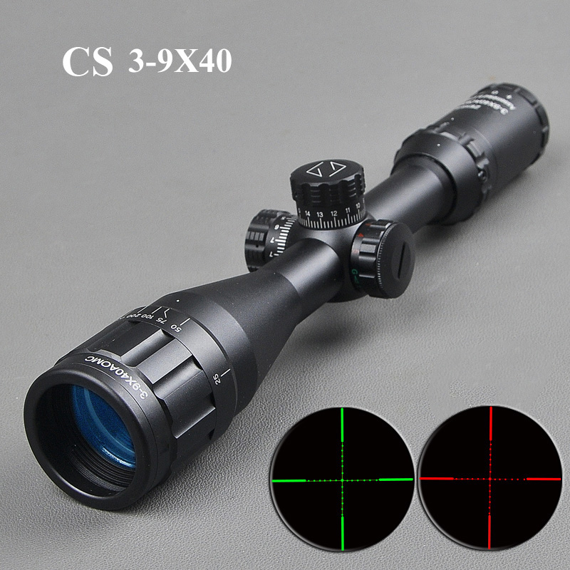CS 3 9X40 Riflescope White Letters Rifle Scope Optics Hunting Tactical Gun Accessories Illuminated Riflescope