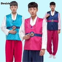 2019 new high quality men korean traditional hanbok male oriental stage dance costume men korea hanbok clothing asian ancient