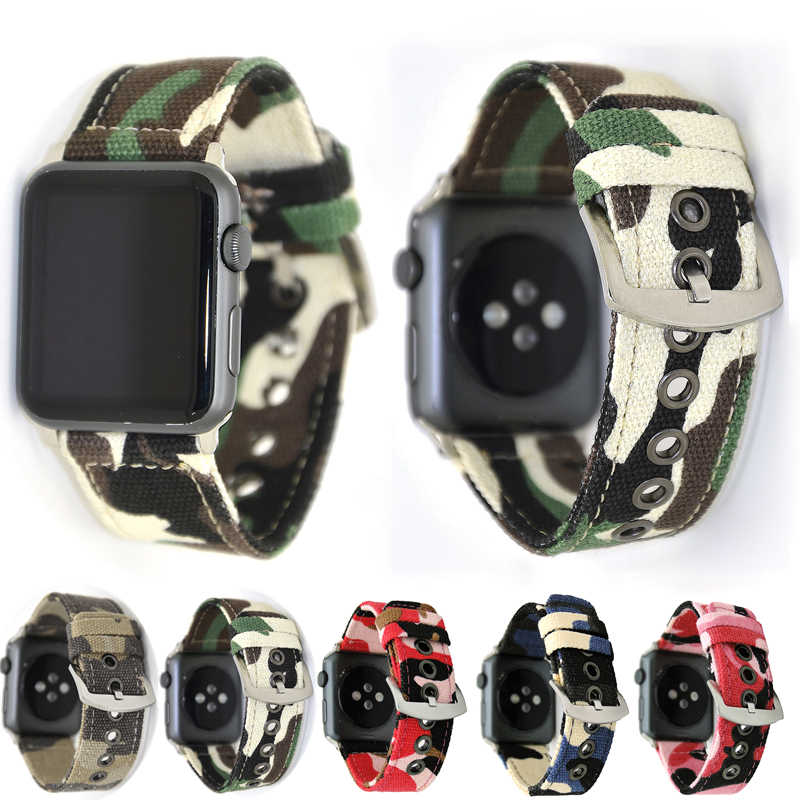 YUKIRIN Camouflage Wrist Belt Canvas Band For Apple Watch Series 4 3 2 1 Band Strap for iwatch men 44mm 42mm 40mm 38mm