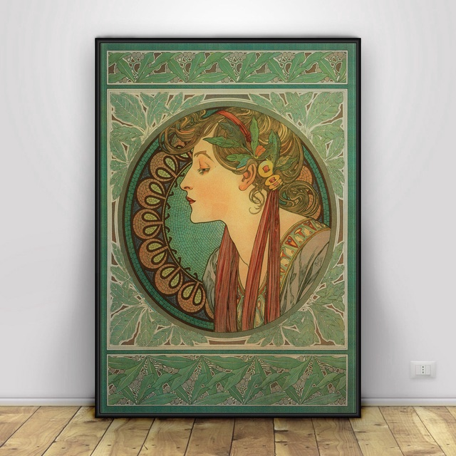 Alphonse Mucha Art Silk Fabric Poster Print Wall Pictures For Room Decor statue