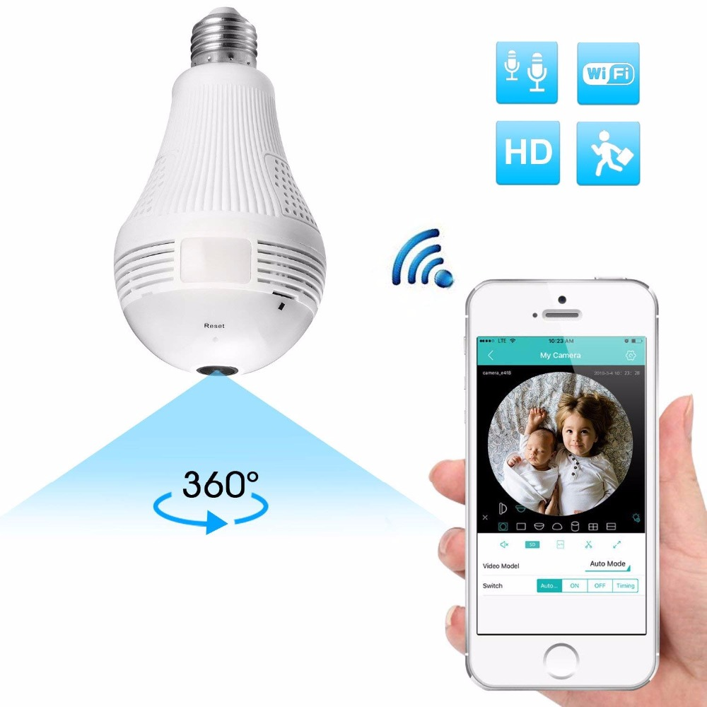 360 Degree Panorama 960P Mini Camera Wifi IP Light Bulb Surveillance Cam CCTV Motion Sensor Night Vision for iPhone Xiaomi image