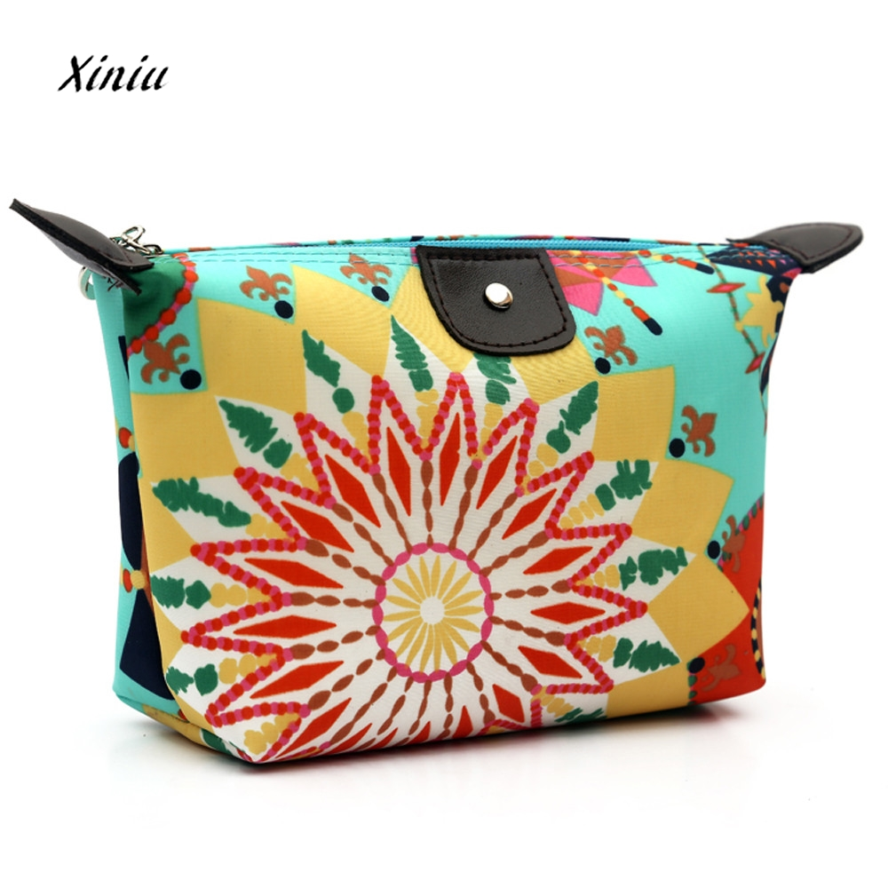цены Fashion Women Travel Make Up Cosmetic Bag Clutch Handbag Flower Printed Ladies Zipper Casual Small Makeup Bags bolsa de maquilla