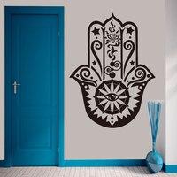 Art Home Decor Hamsa Hand Wall Decal Vinyl Fatima Yoga Vibes 3D Wall Sticker Fish Eye Decals Indian Buddha Lotus Pattern Mural