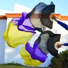 Высокая настоящие шелковые вуали 1 пара ручной работы женский качественный Шелковый Танец живота танцевальный веер танец черный фиолетовый желтый 180*90 см