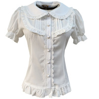 2019 Sweet Chiffon Ruffle Lolita Blouse For Women Girls Short Puff Sleeves Top Slim Fitted Shirt O Neck Ladies White