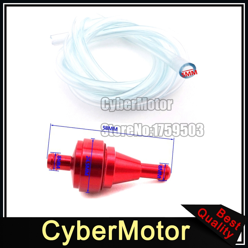 Red 1 Meters 5mm Gas Filter Clearner Fuel Hose Inline Pipe Tube For ATV Pit Dirt Motorized Bicycle Buggy Go Kart UTV Motorcycle