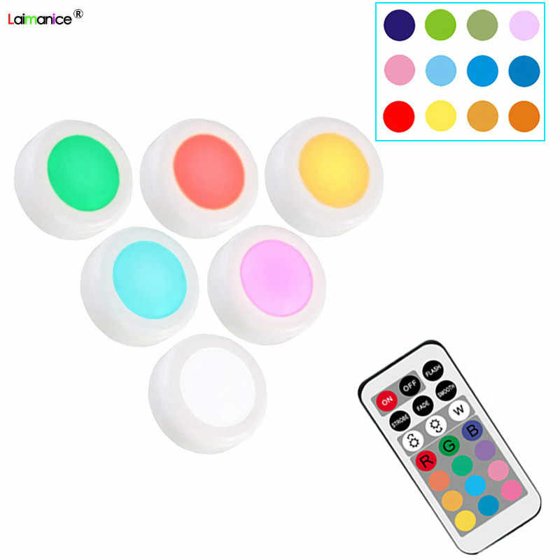 12 Color RGBW LED Night Light Wireless Remote Controller Battery Powered Touch Sensor Under Cabinet Lights For Kitchen Wall Lamp