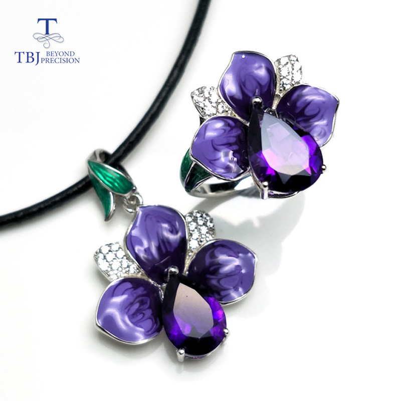 TBJ,2018 new enamel jewelry set with natural african amethyst in 925 sterling silver flower ring pendant for women lady as gift tbj 2018 new enamel jewelry set pendant earring ring 925 sterling silver fine jewelry with leather chord necklace for women gift