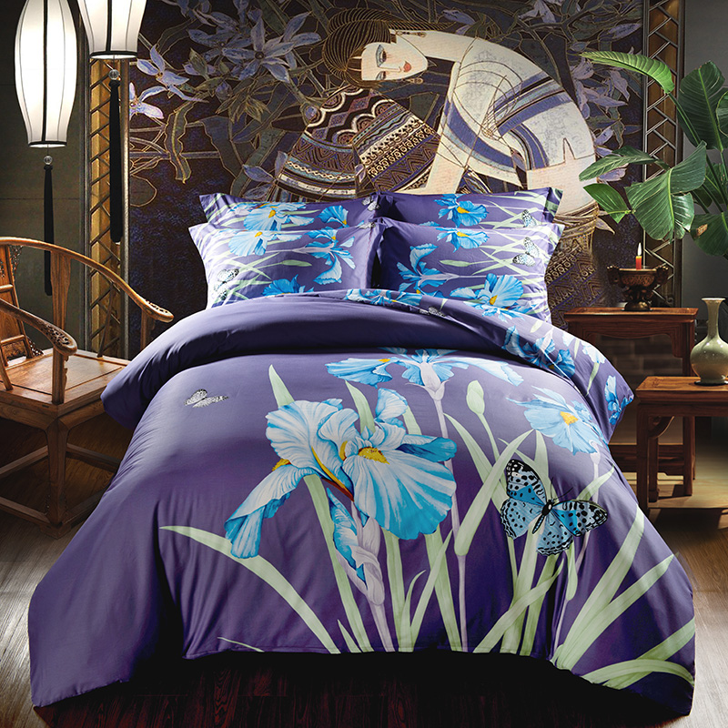 Blue Iris Flowers and Butterfly Bedding Set Queen King Size Duvet Cover 100% Cotton Print BedclothesBlue Iris Flowers and Butterfly Bedding Set Queen King Size Duvet Cover 100% Cotton Print Bedclothes