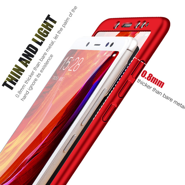 ZNP 360 Protection Case For Xiaomi Redmi 4X 5 Plus 6A 6 Pro S2 Full Cover For Redmi Note 6 5 Pro Redmi Note 5A Case With Glass