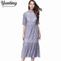 Yunting HIGH QUALITY Newest Fashion 2017 Summer Runway Dress Women S Slim Lace Long Dress