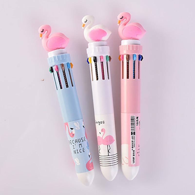 Kawaii 10 Color Gel Pens Cute Stationery Cartoon Flamingo Ball Pen New Style Student Color Pens School Office Supplies Cute Pen
