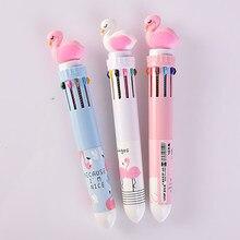 Kawaii 10 couleur Gel stylos mignon papeterie dessin animé flamant rose stylo à bille nouveau Style étudiant couleur stylos école fournitures de bureau mignon stylo