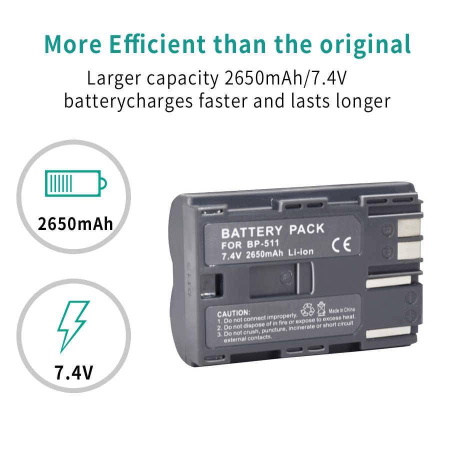 Palo 1Pcs 2650mAh BP 511 BP511 BP-511 BP511A Digitale Batterie per Foto/Videocamera per Canon Eos 40D 300D 5D 20D 30D 50D 10D D60 G6 Batterie