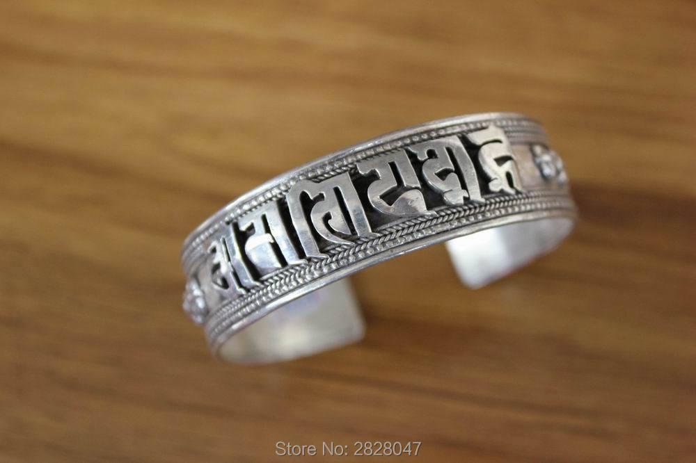 SL040 ethnique tibétain en argent Sterling 925 Six mots Mantra Dorje Bracelet à dos ouvert 925 argent 17mm large réglable Bracelet manchette
