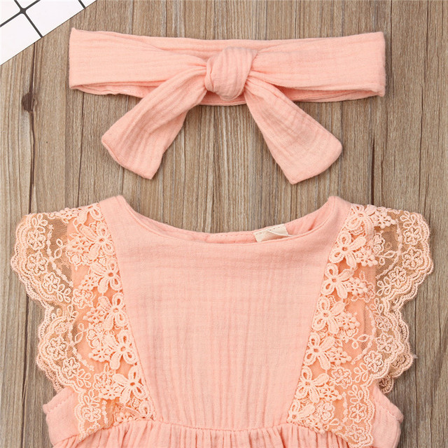 Pretty Summer Newborn Kid Baby Girl Outfits Lace Ruffle Sleeve Romper Solid Jumpsuit Bow Headband 2Pcs Baby Girl Sets 0-24M