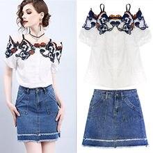 059a392c4ba7 Falda trajes verano mujeres Vintage flores bordado Slash cuello blusa  blanca Tops y falda de mezclilla ropa Casual Set NS681