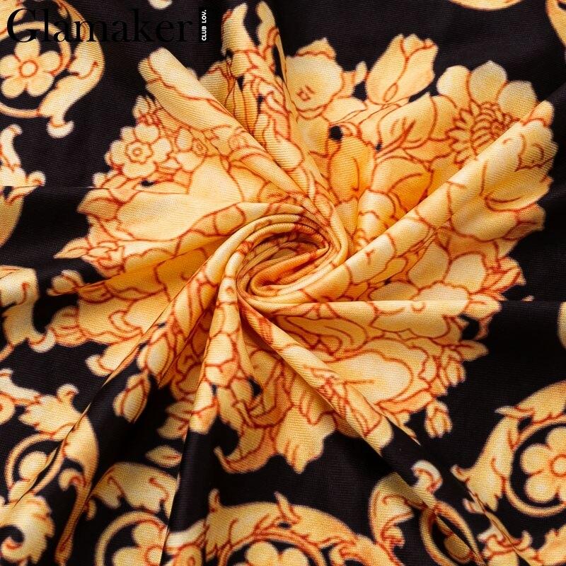 Glamaker Vintage split sexy boho dress Women autumn elegant print maxi dress long sleeve paisley 19 party club dress robe 8