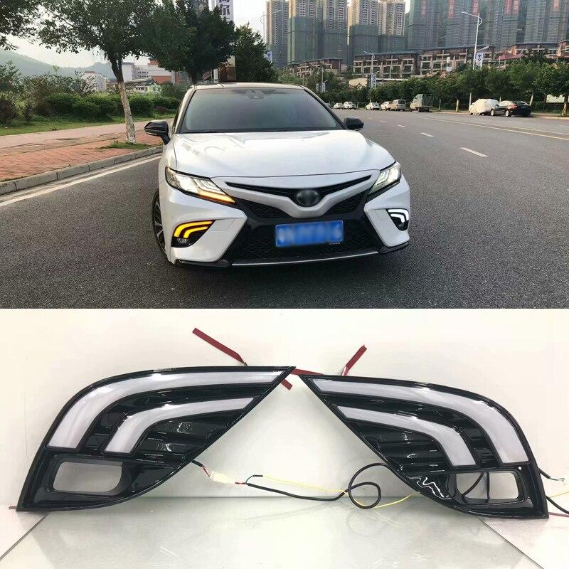 Ownsun Фирменная Новинка обновлен светодиодный Габаритные огни DRL с черным противотуманных фар Крышка для Toyota Camry 2018