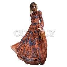 CUERLY Summer Spring Fashion Women Long Dress Chiffon sleeve Print Maxi Elegant Casual Party Dresses sexy