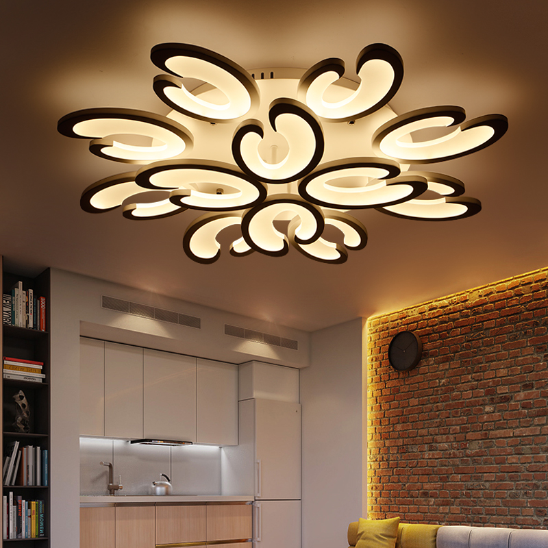 White Acrylic Modern LED Chandelier For Living Room Bedroom Lighting Chandelier Fixtures LED High-Ceiling Ceiling Chandeliers AC