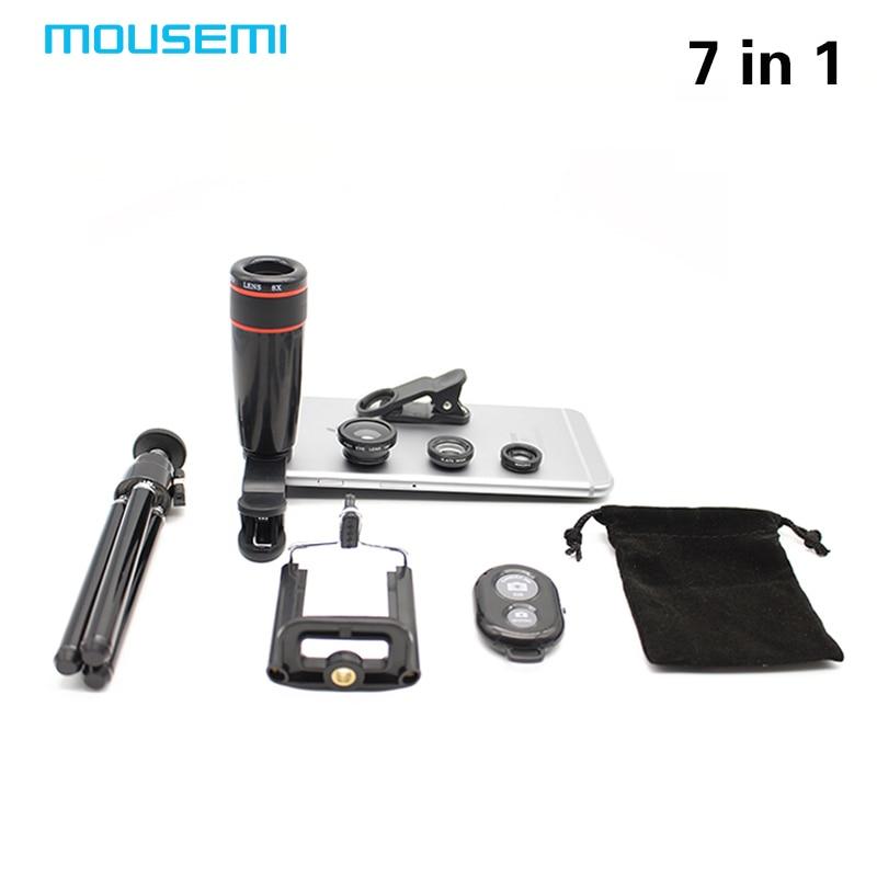 imágenes para 7in1 nuevo Telescopio Del Zumbido 8x Lupa Teléfono 3in1 Lente Lentes de ojo de Pez Lente De La Cámara Giratoria Soporte de Montaje de Trípode Obturador Bluetooth