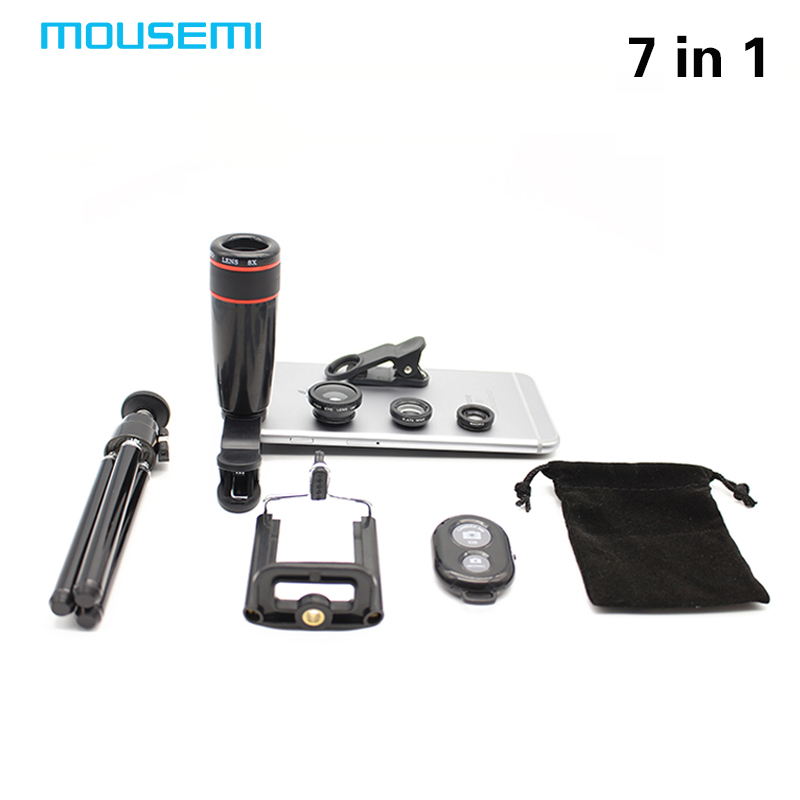 New 7in1 8x Zoom Telescope Magnifier Phone Camera Lens Rotatable Stand Tripod Mount 3in1 Lens Fisheye