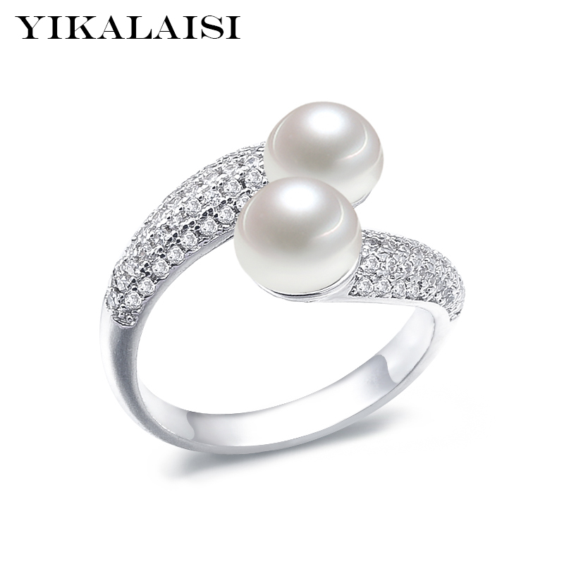 YIKALAISI 925 Sterling Silver Natural Freshwater Pearl Interlaced Fashion Rings Jewelry For Women 8-9mm Double Pearl 5 Colour