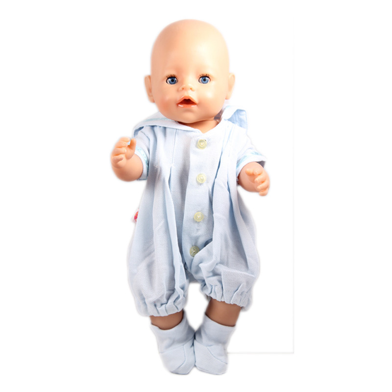 Zapf Baby Born Doll Blue Jumpsuit Clothes+socks Fit 43cm Zapf Doll Fashion Baby Born Doll Accessories Elegant Style чехол socks универсальный blue