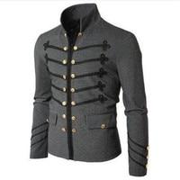 2018 Retro Men Parade Jacket Gothic Military Army Coat Steampunk Tunic Rock Frock Uniform Male Vintage Punk Outwear