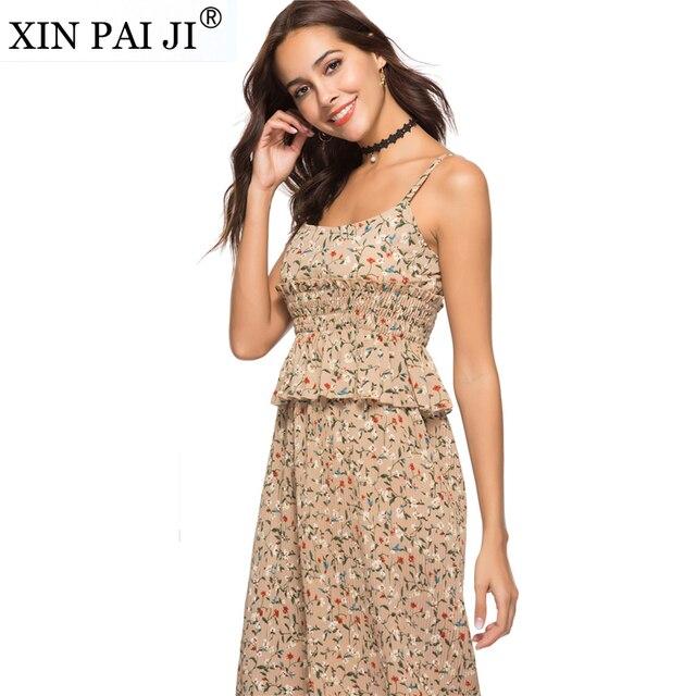 892af39666 Summer Dress 2018 100% Cotton Vestidos Women Elastic Waist Sexy Spaghetti  Strap Casual Pleated Beach Dress Women Floral Print
