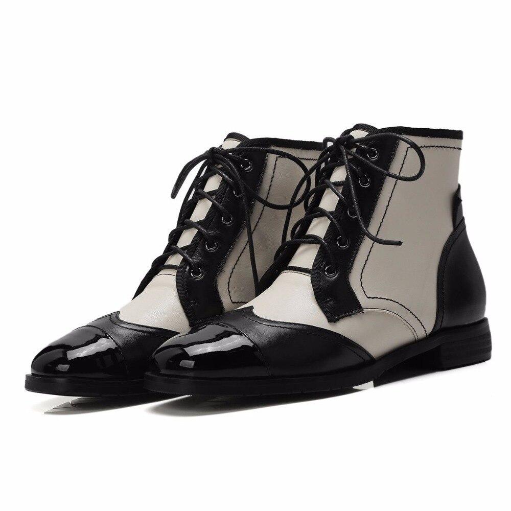 Krazing หม้อ Oxford ของแท้หนัง streetwear รอบ toe ผสมสีรองเท้าข้อเท้ารองเท้าส้นสูง dinner party luxury เชลซีรองเท้า L41-ใน รองเท้าบูทหุ้มข้อ จาก รองเท้า บน   3