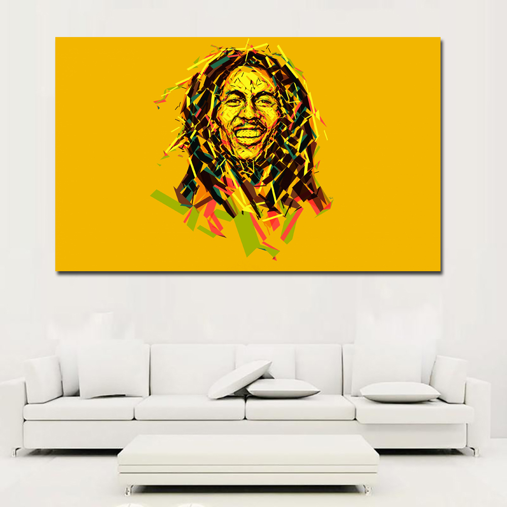 Bob Marley Portrait Vector Graphics Colored background Oil Painting On Canvas Art Prints For Living Room Home Decoration ...