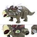 Новинка Моделирование Электрический Динозавров Triceratops Дети Мигающий Свет Музыкальные Игрушки Развивающие Прогулки Излучающих Игрушечные Фигурки