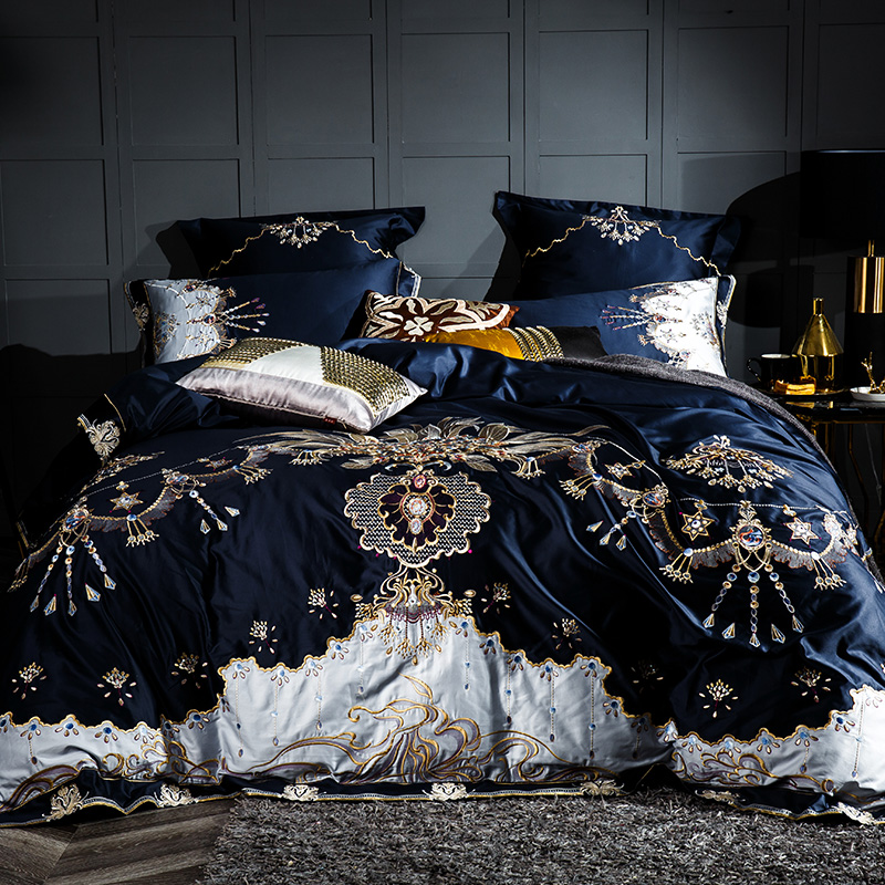 1000TC Egyptian cotton Blue Purple Bedding Set Luxury Queen King size Bed sheet set Embroidery Duvet