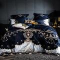 1000TC Египетский хлопок синий фиолетовый комплект постельного белья Роскошный Королевский размер простыня набор вышивка пододеяльник parure de ...