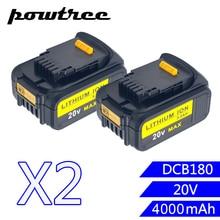 2Packs 18V 5000mAh DCB180 Li-ion Rechargeable Power Tool Battery For DEWALT DCB203 DCB181 DCB200 DCB201 DCB201-2 L10