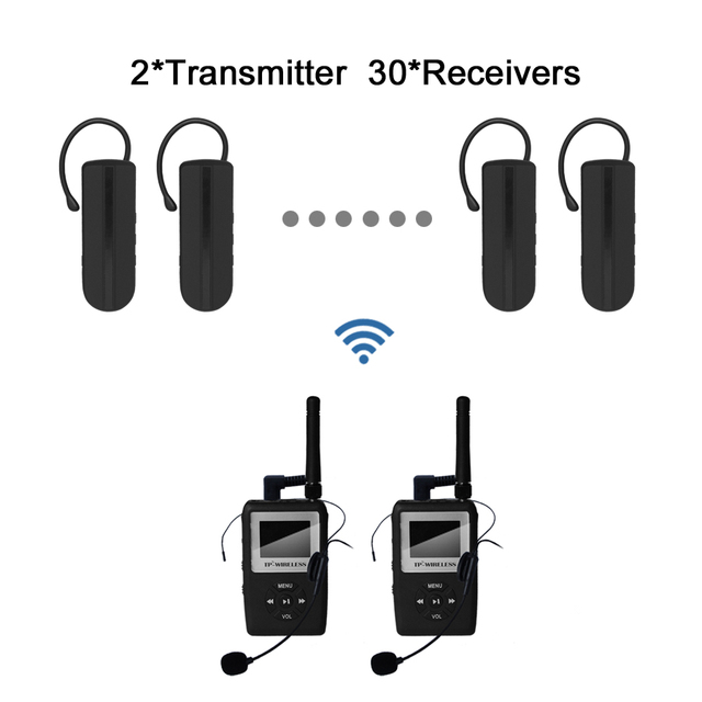 UHF WTAG05 Wireless Tour Guide System Wireless Translation System Earhook Receiver 2 Transmitter 30 receiver