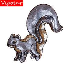 embroidery sequins squirrel patches for jackets,animal badges jeans,appliques backpack A274