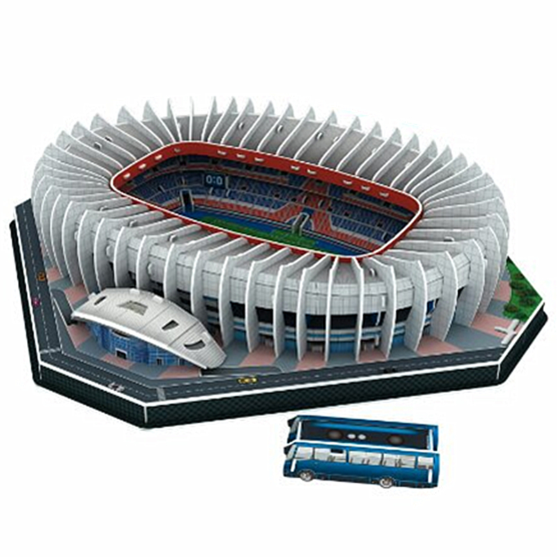 Classic Jigsaw Architecture Parc Des Princes Football Stadiums DIY Brick Toys Scale Models Sets Building Paper