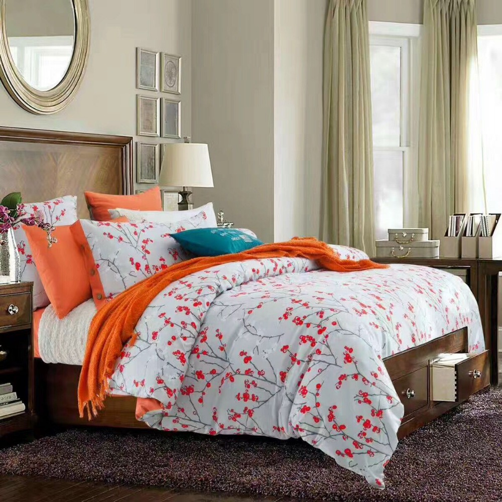 An Shui Home Textile Cotton Orange Flower King Queen Bedding Sets Wedding Bedroom Set Designer King