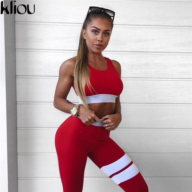 Kliou 2017 Women 2 Pieces Suit Crop Tank Striped Leggings Set Polyester Female Casual Bodysuit Club Outfit Sporting Tracksuits