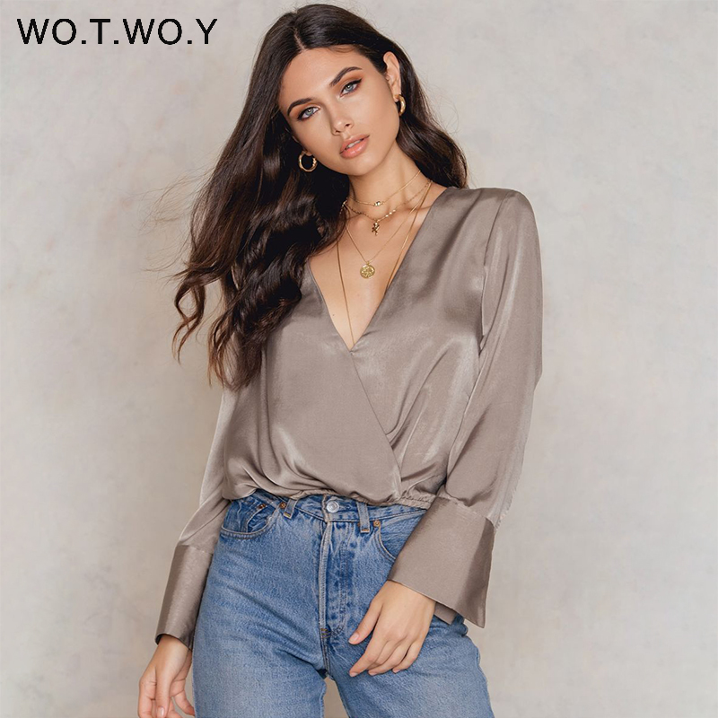 f3dddc8112 High Quality Deep V-Neck Silk Blouses Women Long Sleeve Satin Office Blouse  Shirts Women