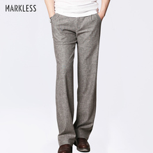 Markless тонкие льняные мужские брюки, мужские коммерческие Свободные повседневные деловые брюки, Мужская одежда, прямые мужские брюки